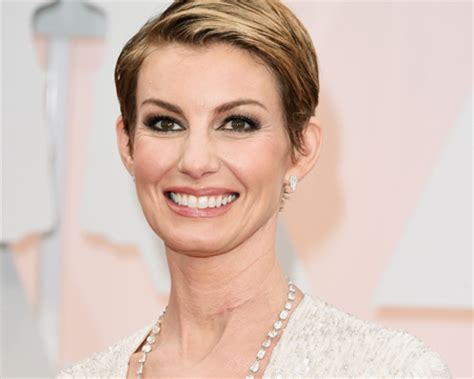 faith hills scar on neck from undisclosed surgery in january oscars 2015 fashion faith hill rocks super short haircut