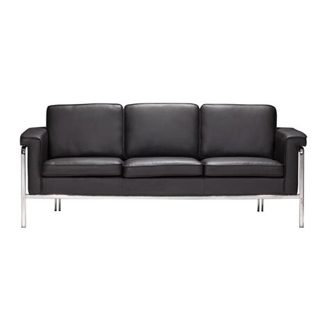 Modern Faux Leather Sofa Zuo Singular Modern Faux Leather Sofa In Black 900166
