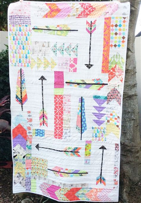 quilt pattern arrow girls single bed quilt feathers arrows and flying geese