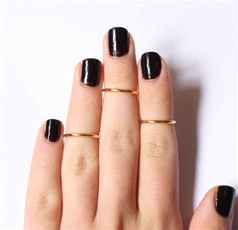 3 above the knuckle gold plated rings set of 3 stackable