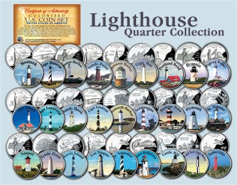 colored quarters historic american lighthouses colorized us statehood