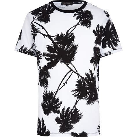 Tshirt Printing Small Palm lyst river island white palm tree print t shirt in white for