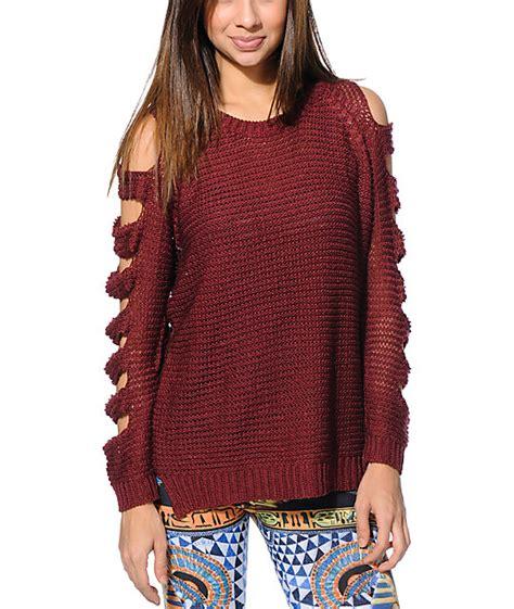 maroon knit sweater lira maroon knit sweater