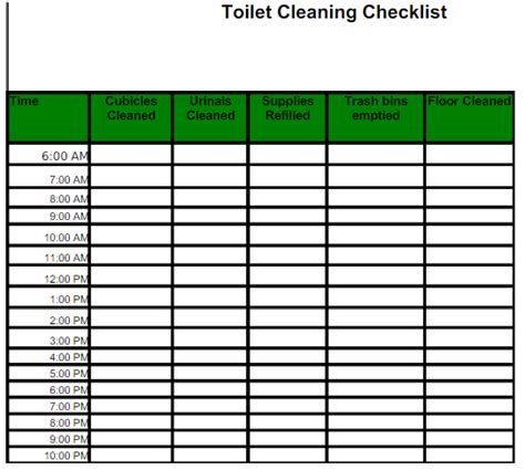 Toilet Cleaning Checklist Templates Find Word Templates Restroom Checklist Template