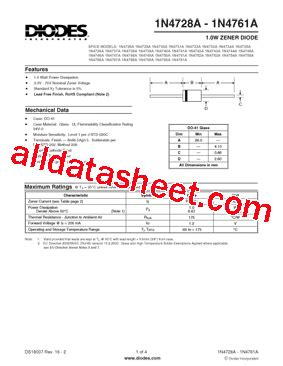 1n4733a datasheet pdf diodes incorporated