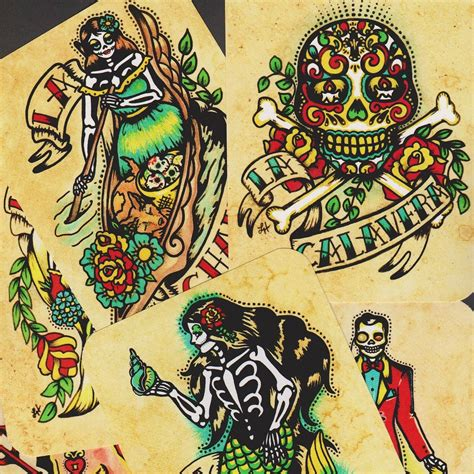 etsy tattoo designs day of the dead postcards mexican loteria