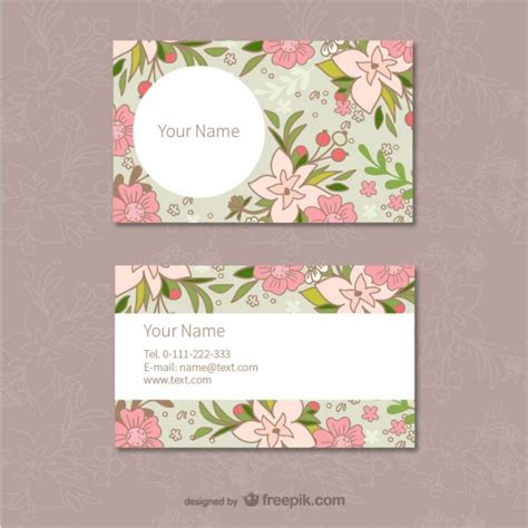 Floral Business Cards Template Vector Free Download Flower Business Card Template