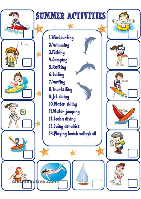 printable preschool summer activities summer activities free esl worksheets verano