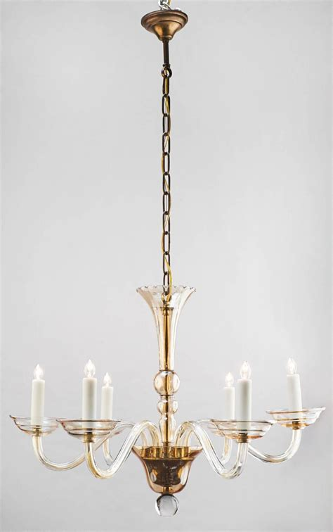 Murano Amber Glass Six Arm Chandelier At 1stdibs Glass Arm Chandelier