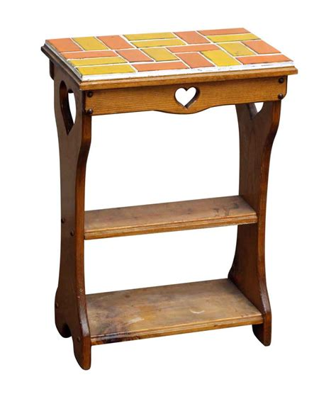 Table Cut by End Table With Cut Outs And Colorful Tile Top Olde
