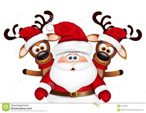 imagenes del reno de santa claus reno santa claus y dos de la tarjeta de navidad