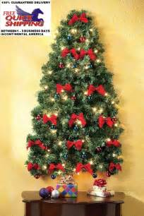 Wall Christmas Tree Pre Lit - pre lit christmas wall tree holiday decor ornaments bows lights green gift what s it worth