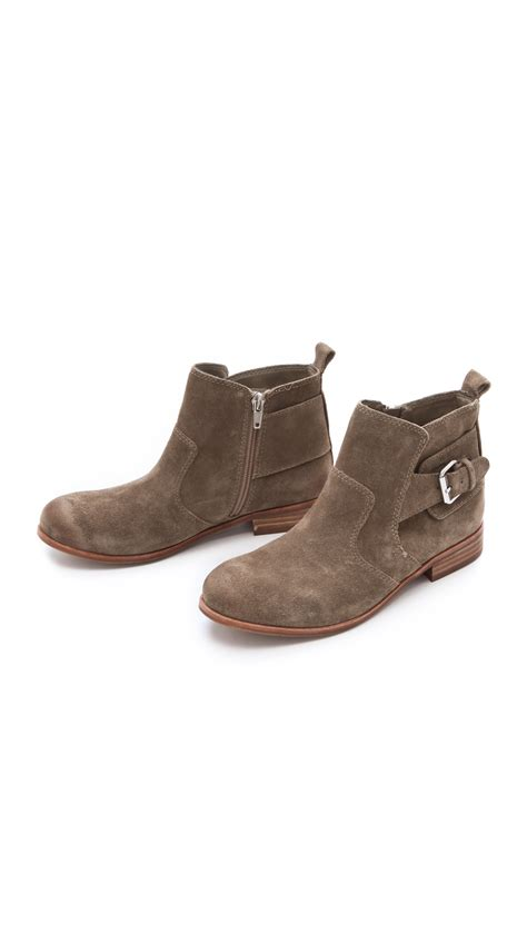 dolce vita rodge flat booties in brown lyst