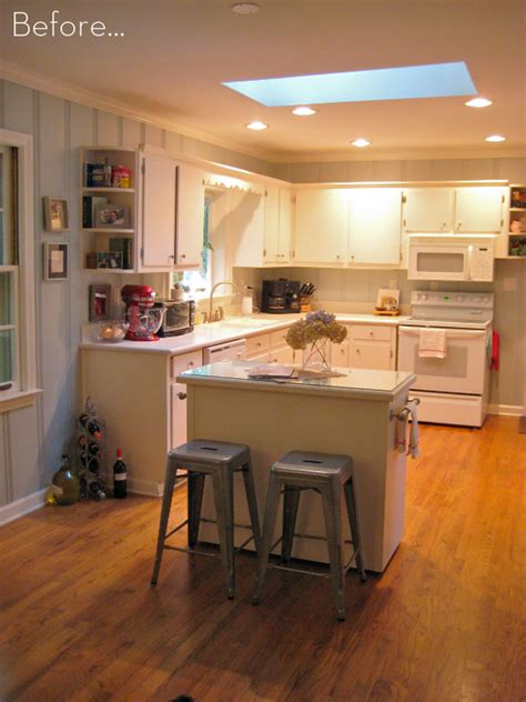 islands for kitchens small kitchens before after a diy kitchen island makeover curbly