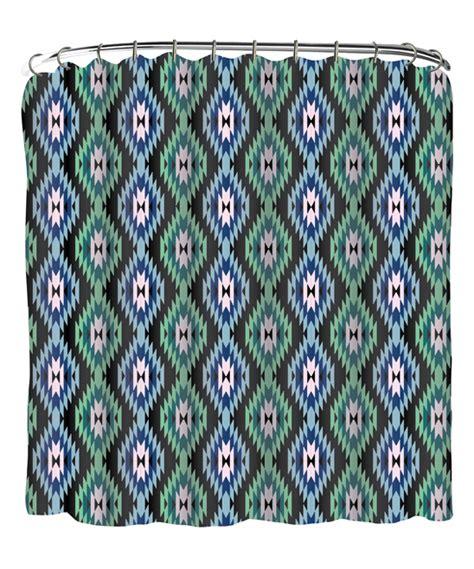 green shower curtain set indecor blue green geometric shower curtain set zulily