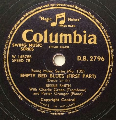 Bessie Smith Empty Bed Blues by Bessie Smith Empty Bed Blues Shellac At Discogs