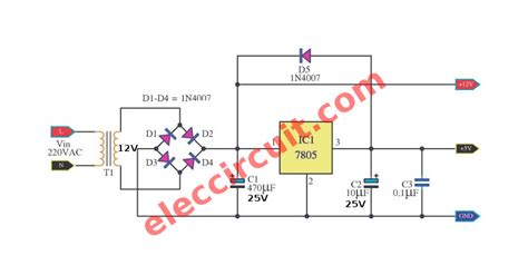 capacitor convert ac to dc convert two level dc voltage 5v 12v electronic projects circuits