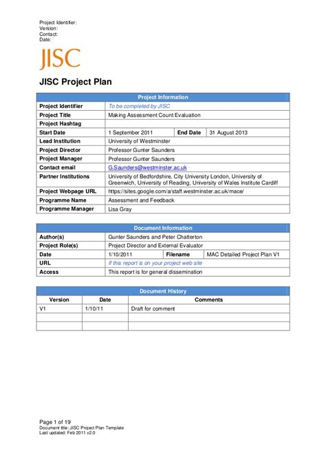 Draft Project Plan B Westminster Mace Draft Project Plan Template