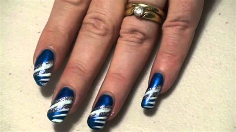 easy nail art blue and white sparkly blue white silver nail art design easy youtube