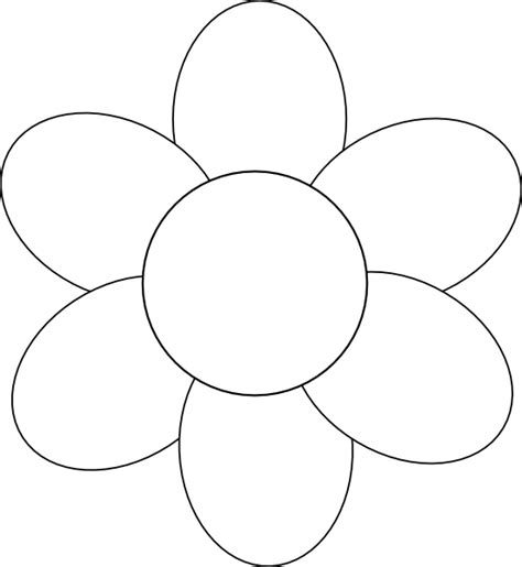 6 petal flower template flower six petals black outline clip at clker