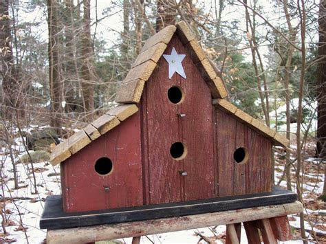 primitive barnwood birdhouse tobacco lath roof four hole white