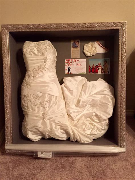 Preserve and display your wedding dress in a shadow box