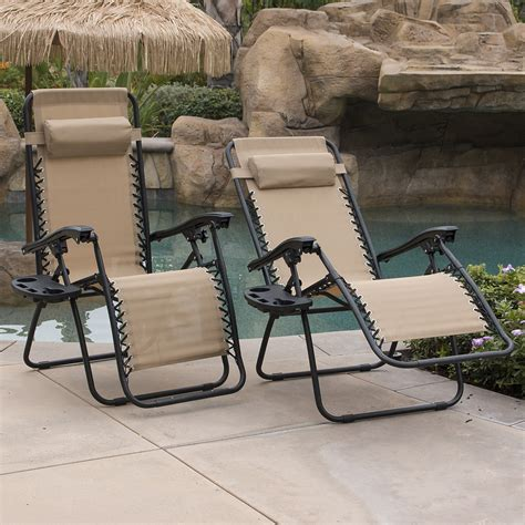 Backyard Lounge Chairs Design Ideas 2 Outdoor Zero Gravity Lounge Chair Patio Pool Yard Folding Recliner Ebay