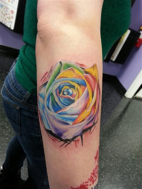 colorful rose tattoos rainbow tattoos