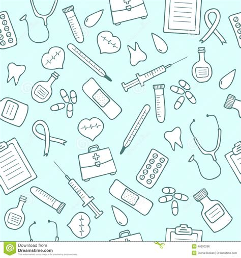 doodle doctor free doodle seamless pattern set of medicine icons