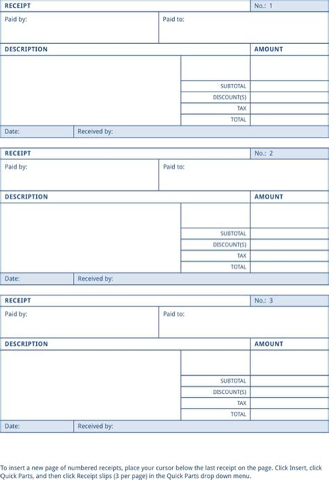 receipt template word 2007 payment receipt for free formtemplate