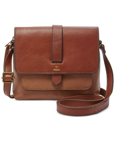 brown leather crossbody fossil kinley leather small crossbody in brown lyst