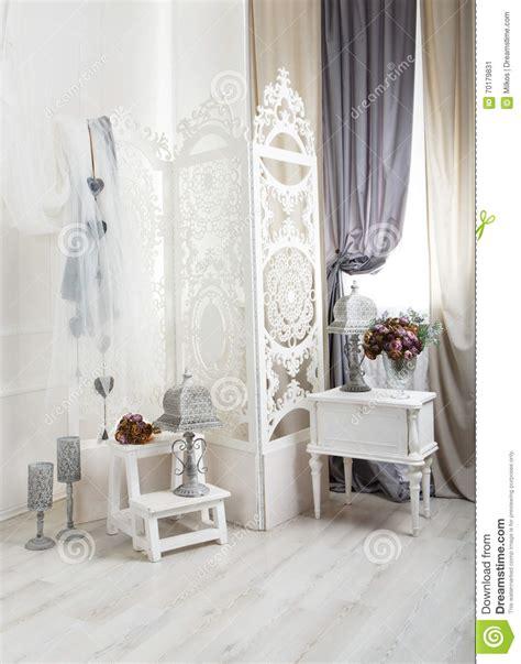 shabby chic rustic decor shabby chic white room interior wedding decor stock photo