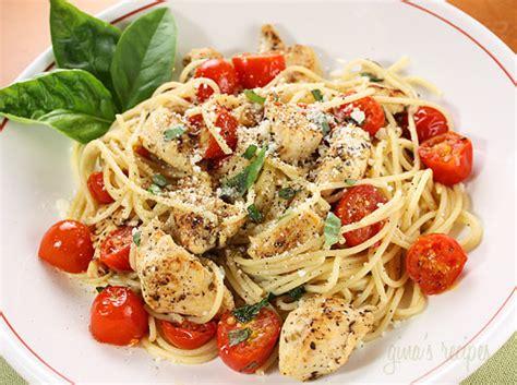 spaghetti  sauteed chicken  grape tomatoes