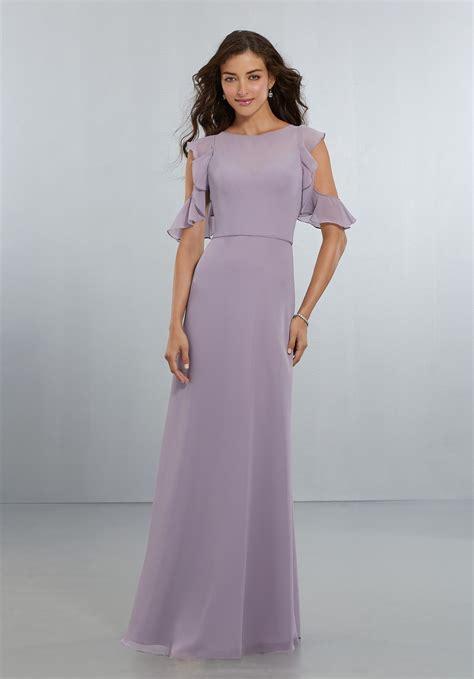 Bridesmaid Dresses Uk Sleeve - chiffon bridesmaids dress with flounced sleeve detail and