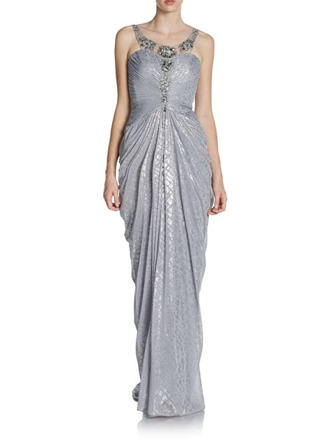 silver beaded gown papell beaded metallic foil gown in silver lyst