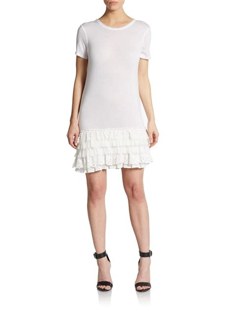 17888 White Knit Sale Dress Or Skirt valentino knit top lace skirt dress in white lyst