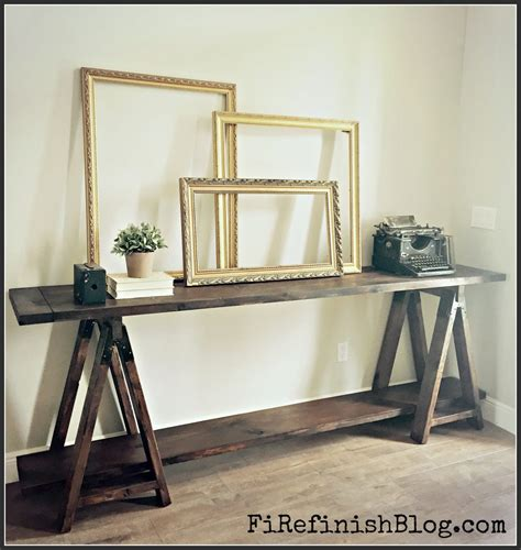 diy table with sawhorse legs diy sawhorse console table shanty 2 chic