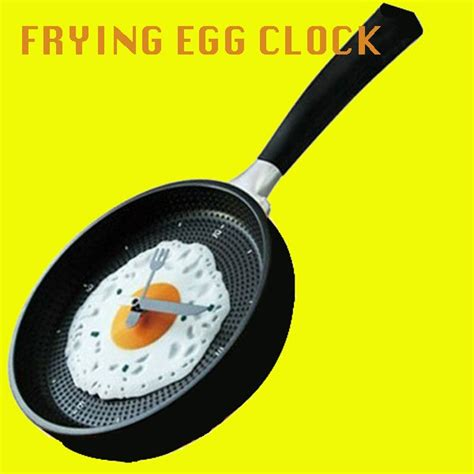 Egg Pan Clock frying pan egg wall clock new easy
