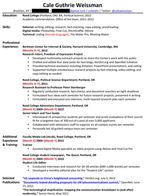 include research experience resume