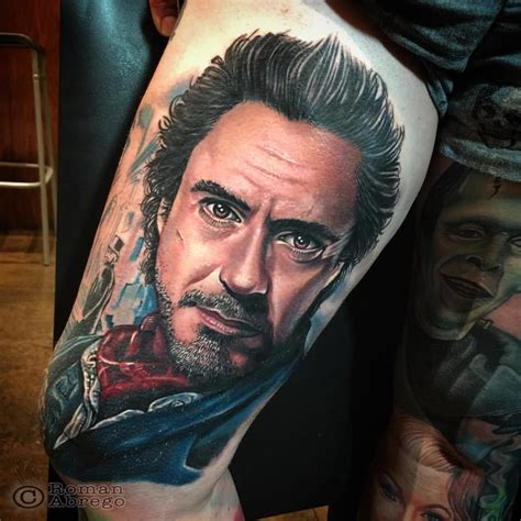 robert downey jr tattoo color portrait characters robert downey jr