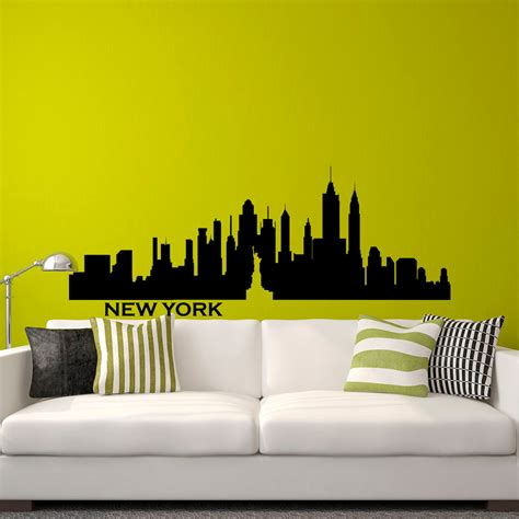 new york skyline wall sticker new york skyline nyc wall decal city silhouette new york scape