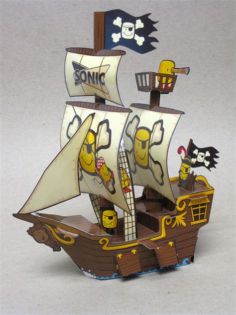 How To Make A Pirate Ship With Paper - sonic paper pirate ship on behance