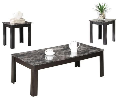 Monarch Specialties Black Grey Marble Look Top 3 Piece Contemporary Coffee Table Sets