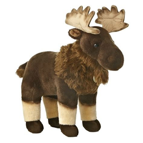 realistic stuffed moose 15 inch plush animal by aurora at