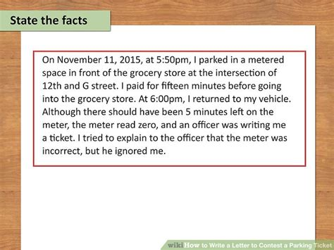 Sle Letter To Contest Parking Ticket by How To Write A Letter To Contest A Parking Ticket 10 Steps