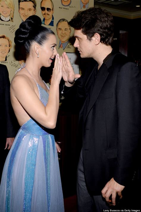 Mayer Experiences The Magic Of A Haircut by Katy Perry Sparkles In Low Cut Dress At Grammys After