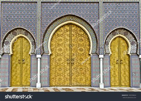 porte or the three big golden doors of the royal palace of fez