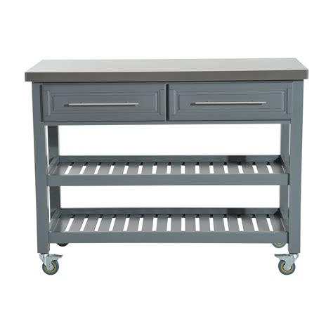 HomCom Country Style Kitchen Island   Rustic Rolling