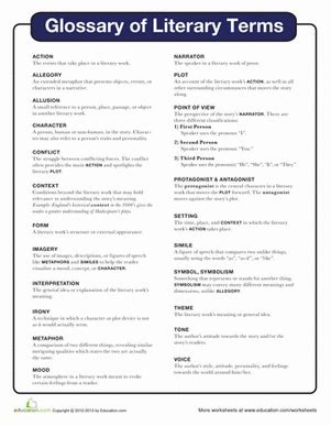 Literary Terms Worksheet literary terms worksheet education