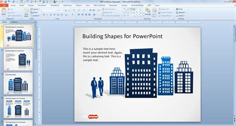 building powerpoint templates free office building shapes for powerpoint free